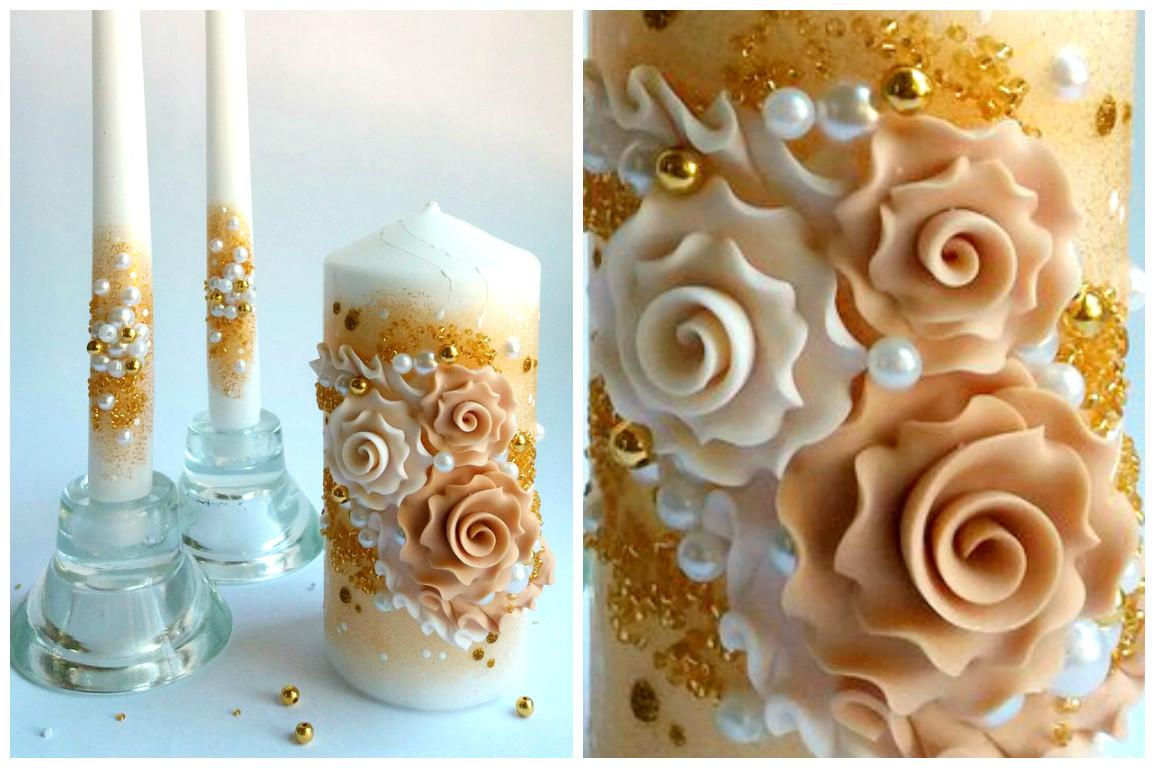 Набор свадебных свечей в золотом цвете