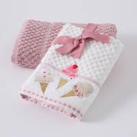 Набор кухонных полотенец Т40x60 бело-розовое Эскимо