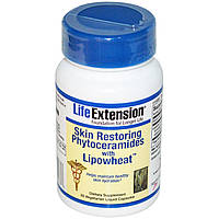 Life Extension, Восстанавливающие кожу фитокерамиды с липосомами из пшеницы, 30 жидких вегетарианских капсул