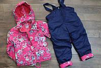 Утепленный комбинезон со съемным капюшоном для девочек 1 и 4 лет Цвет малиновый