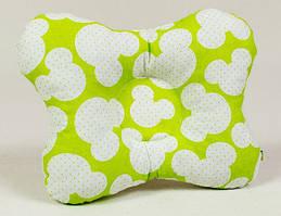 Детская ортопедическая подушка BabySoon Яркий Микки №1 22 х 26 см салатовая (131)
