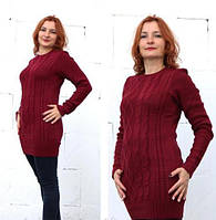 Вязаное платье-туника Ася бордо 42-48р