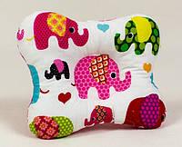 Двухсторонняя ортопедическая подушка для младенцев BabySoon Слоники на розовом