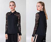 Стильная блузка с гипюровыми рукавами и рубашечным воротником