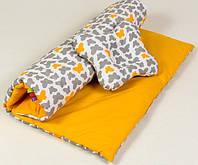 Набор в коляску для новорожденных BabySoon Бабочки одеяло 65 х 75 см подушка 22 х 26 см оранжевый (107)