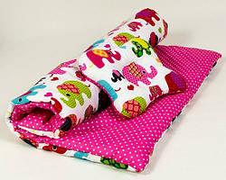 Комплект в коляску летний BabySoon Слоники на розовом одеяло 65 х 75 см подушка 22 х 26 см (068) розовый