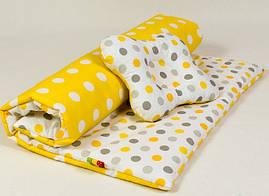 Летний комплект в коляску BabySoon Солнышко одеяло 65 х 75 см подушка 22 х 26 см (068) желтый