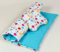 Комплект летний в коляску BabySoon Праздник одеяло 65 х 75 см подушка 22 х 26 см (074) бирюзовый