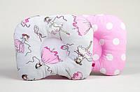 Двухсторонняя ортопедическая детская подушка BabySoon Балеринки + розовый в горох