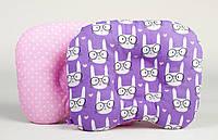 Подушка для новорожденных ортопедическая двухсторонняя BabySoon Зайчики в очках + горошек на розовом