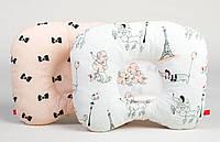 Детская ортопедическая подушка для новорожденных двухсторонняя BabySoon Пудели + бантики (цвет пудры)