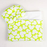 Комплект в детскую коляску лето BabySoon Яркий Микки одеяло 65 х 75 см подушка 22 х 26 см (077) салатовый