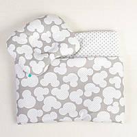 Комплект в детскую коляску летний BabySoon Серый Микки одеяло 65 х 75 см подушка 22 х 26 см (080)