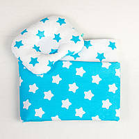 Комплект в детскую коляску летний BabySoon Бирюзовые звездочки одеяло 65 х 75 см подушка 22 х 26 см (083)