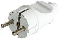 Вилка бытовая e.plug.straight.003.16, с з/к, 16А прямая белая