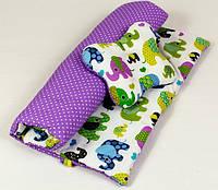 Детский комплект в коляску MAMYSIA Слоники на сиреневом 105 одеяло 65 х 75 см подушка 22 х 26 см