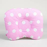 Ортопедическая подушка от кривошеи BabySoon Белые горохи на розовом фоне