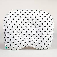 Подушка для новорожденных от кривошеи BabySoon Черный горошек на белом