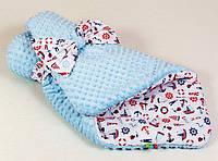 Конверт - одеяло на выписку демисезонный BabySoon Морячок 80 х 85 см (025) голубой