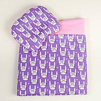 Детский комплект в коляску летний MAMYSIA Зайчики в очках 099 сиреневый одеяло 65 х 75 см подушка 22 х 26 см