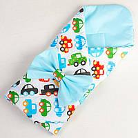 Конверт - одеяло на выписку демисезонный BabySoon Разноцветные машинки 80 х 85 см (041) бирюзовый
