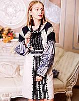 Вишите плаття Чорна фея  (машинна вишивка, сірий льон)
