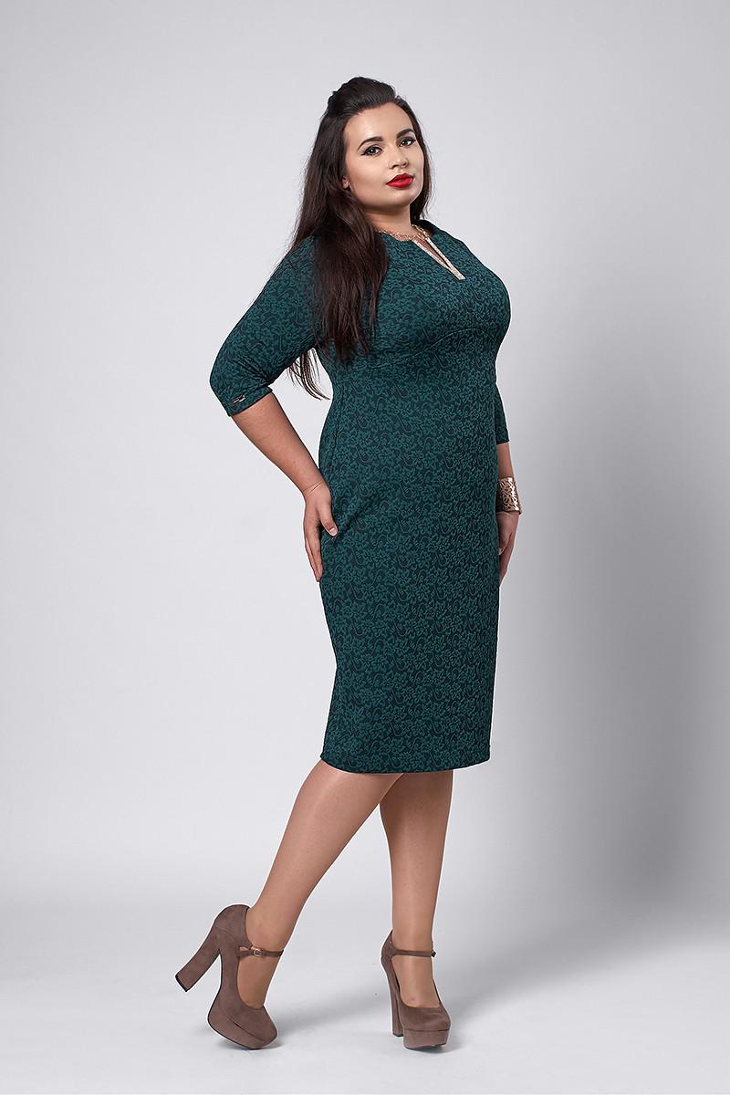 Платье мод №530-2, размеры 54 зеленое