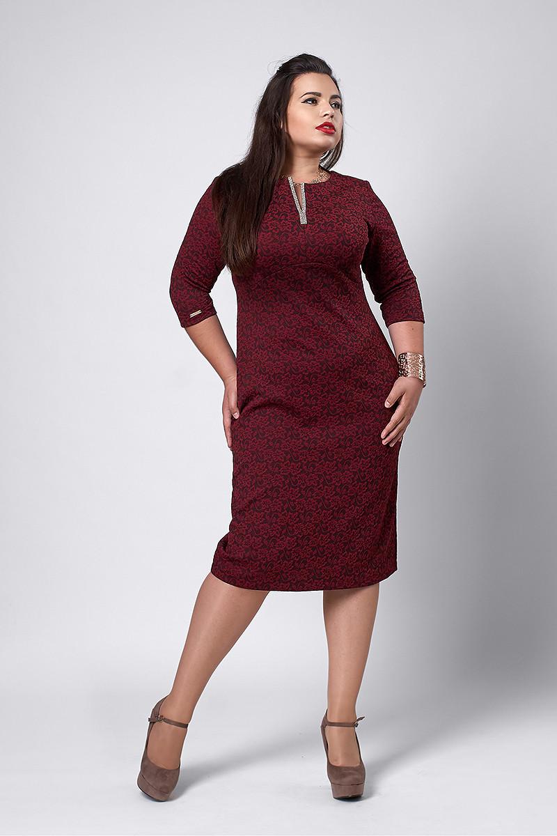 Платье мод №530-3, размеры 54-56 бордо