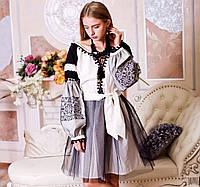 Вишите плаття Чорна фея 2 (машинна вишивка, сірий або білий льон)