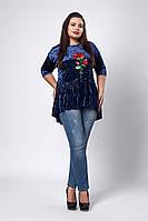 Блуза мод №529-5, размеры 58-60 синий
