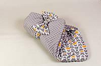 Детский плюшевый зимний конверт BabySoon Бабочки  80 х 85 см (062) серый