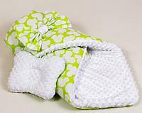 Зимний плюшевый конверт на выписку BabySoon Яркий Микки 80 х 85 см (058) салатовый
