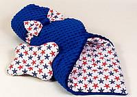 Зимний конверт на выписку BabySoon Морские звезды 80 х 85 см (066) синий