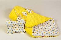 Зимний плюшевый конверт на выписку BabySoon Солнышко 80 х 85 см (060) желтый