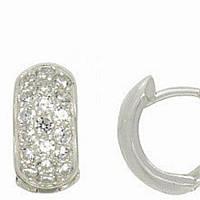 Серьги кольца с россыпью камней на английском замке