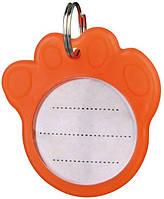 """Адресник """"Лапка"""" Трикси оранжевый пластик 3,5см"""