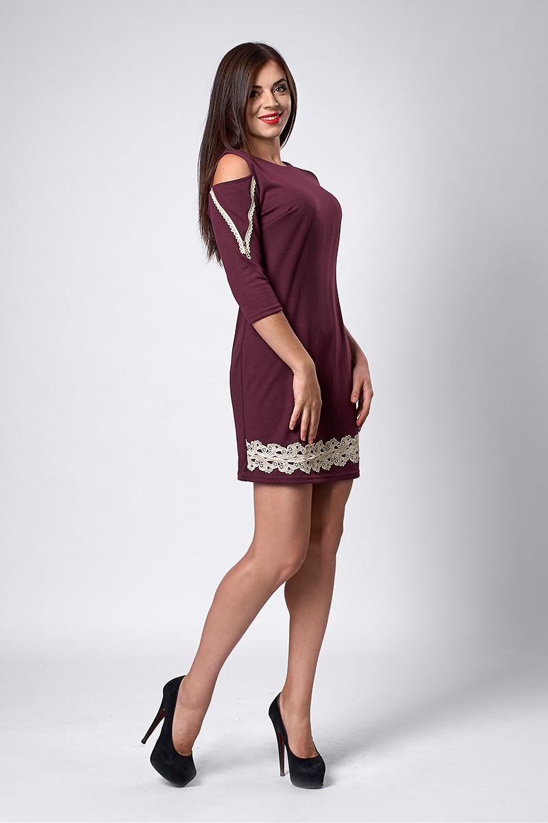 Платье мод №295-3, размеры 44,46 бордо