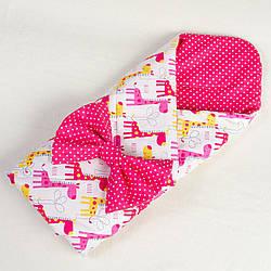 Демисезонный конверт - одеяло BabySoon Веселые жирафики 80 х 85 см (050) розовый