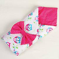 Летний конверт - одеяло BabySoon Совушки на ярко - розовом 80 х 85 см (023)