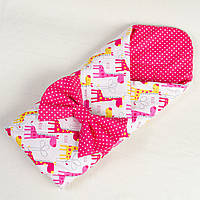 Летний детский конверт - одеяло BabySoon Веселые жирафики 80 х 85 см (007) розовый
