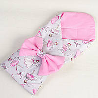 Конверт - одеяло на выписку летний BabySoon Балеринки 80 х 85 см (004) розовый