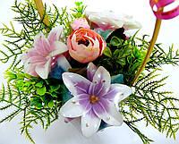 """Букетная композиция из мыльных цветов в корзинке """"Букет лилий"""""""