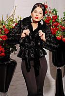 Шуба женская из искусственного меха короткая №005 черная