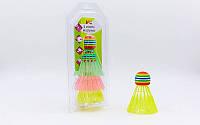 Воланы для бадминтона пластиковые (3шт) в блистере BD-3323 (цветные)