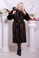 Шуба женская из эко меха элегантная №131 коричневая