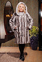 Шуба женская из искусственного меха стильная №137 серый паркет