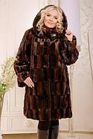 Шуба женская из искусственного меха стильная №137 коричневая
