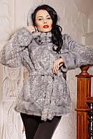 Шуба женская из искусственного меха короткая №152 серый леопард