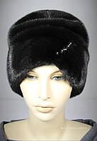 Зимняя женская норковая шапка цвет черный