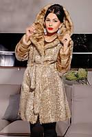 Шуба женская искусственная стильная №172 песочный леопард,магазин шуб